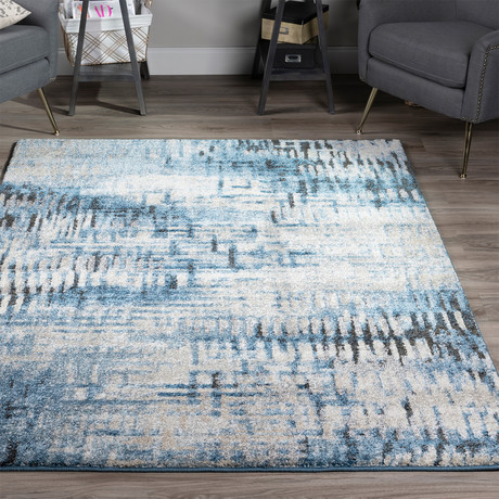 Placid // Abstract Stripes Area Rug // Blue (3'L x 5'W)
