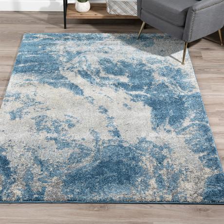Placid // Nebulous Boho Area Rug // Blue (3'L x 5'W)