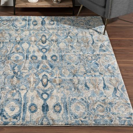 Placid // Bohemian Ikat Area Rug // Blue (3'L x 5'W)