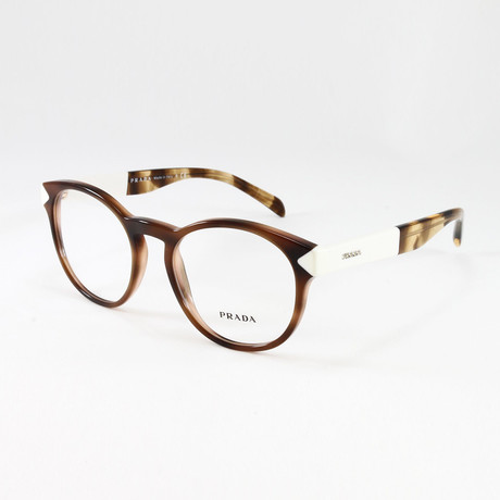 Women's PR16TV Optical Frames // Striped Dark Brown (Size: 50-18-140)