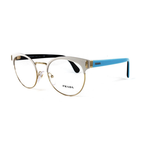 Women's PR63TV Optical Frames // Matte White + Silver (Size: 50-19-140)