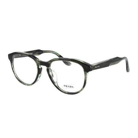 Women's PR18SVF Optical Frames // Striped Gray + Green