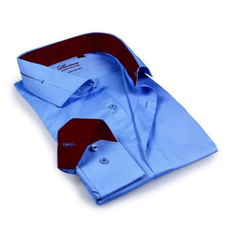 Solid Dress Shirt II // Blue + Red Stitch (S)