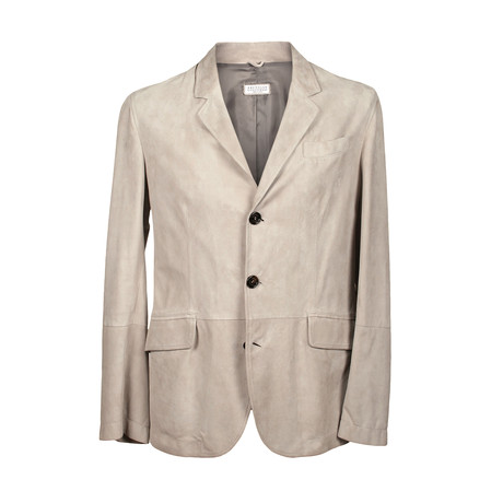 Suede 3 Button Overcoat // Cream (XS)