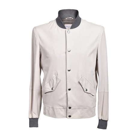 Two Tone Suede Button Down Baseball Jacket // Cream (XS)