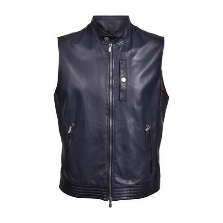 Leather Vest // Dark Navy (XS)