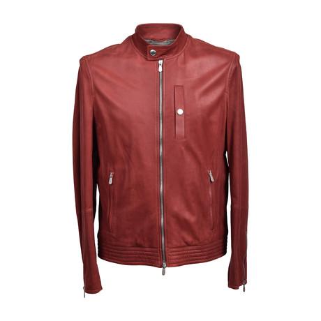 Leather Biker Jacket // Red (XS)