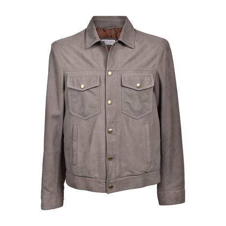 Suede Western Style Jacket // Gray (XS)