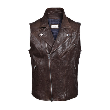 Distressed Lether Biker Vest // Chocolate Brown (XS)