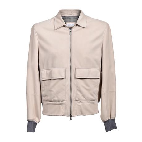 Two Tone Zip Up Leather Jacket // Cream (XS)