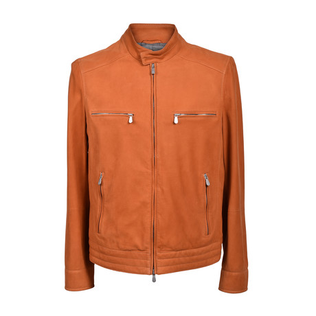 Suede Biker Jacket // Orange (XS)