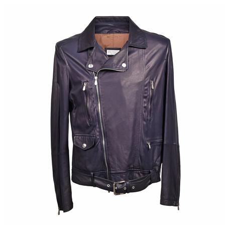 Leather Biker Jacket // Dark Navy (XS)