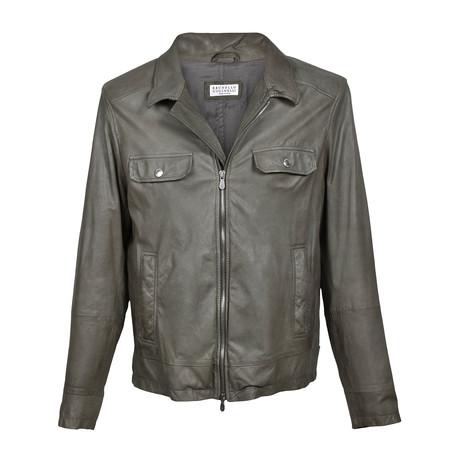 Leather Biker Jacket // Olive (XS)