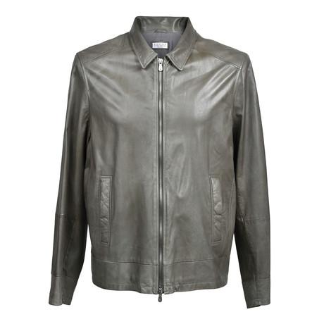 Leather Biker Jacket // Smoke Gray (XS)