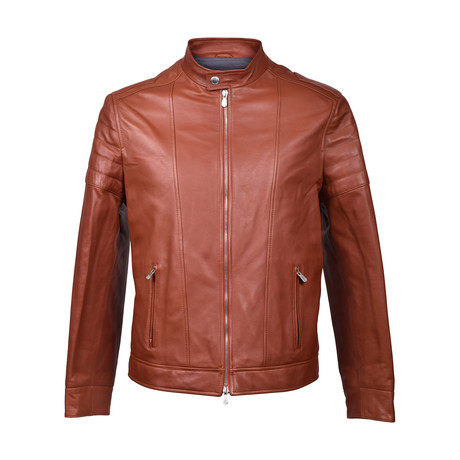 Leather Biker Jacket // Chocolate Brown (XS)