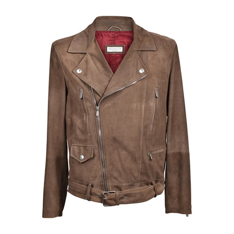 Suede Biker Jacket // Brown (XS)