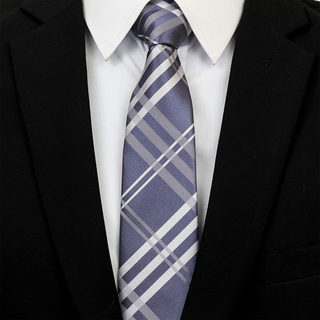 Square Silk Neck Tie // Blue + Gray + White Check