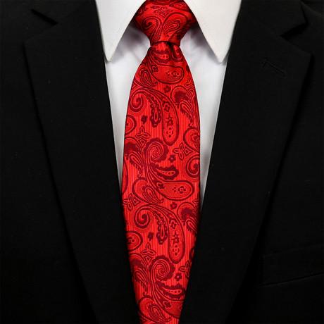 Silk Neck Tie + Gift Box // Red Paisley
