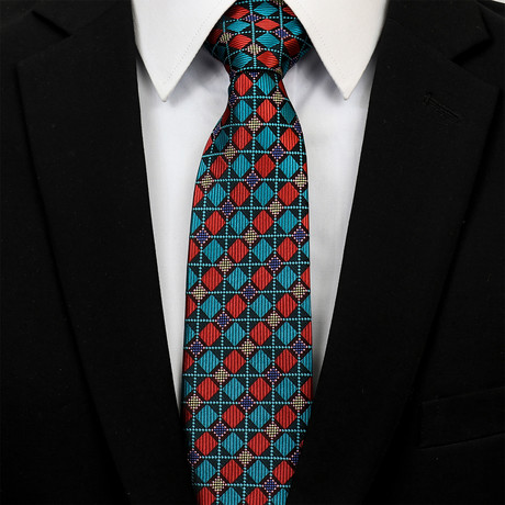Silk Neck Tie + Gift Box // Multicolor Checkered Diamonds