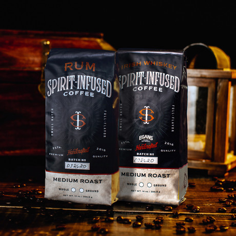 Infused Coffee Bundle of 2 // Rum + Irish Whiskey (Ground)