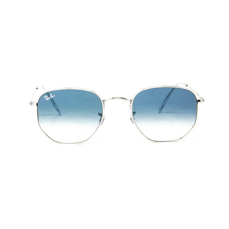 Ray Ban // Men's Square Sunglasses // Silver + Blue