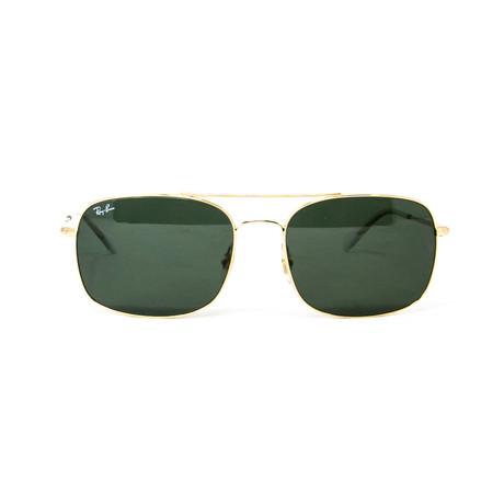 Ray Ban // Men's Modified Aviator Sunglasses // Gold + Dark Green