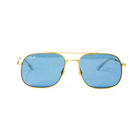 Modified Aviator Sunglasses // Gold + Blue