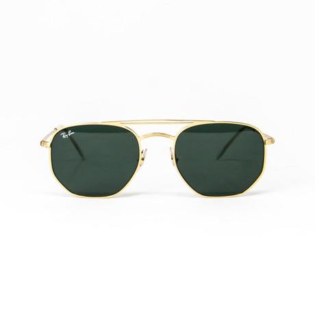 Ray Ban // Men's Modified Hexagonal Aviator Sunglasses // Gold + Green