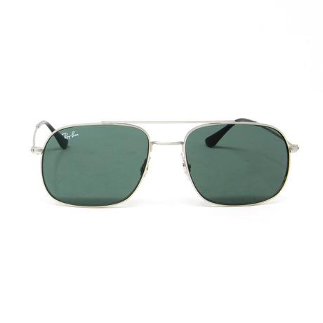 Modified Aviator Sunglasses // Silver + Green
