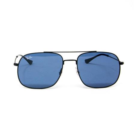 Modified Aviator Sunglasses // Black + Blue
