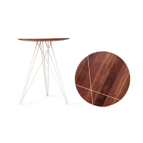 Hudson Side Table // Walnut // With Inlay (Black)