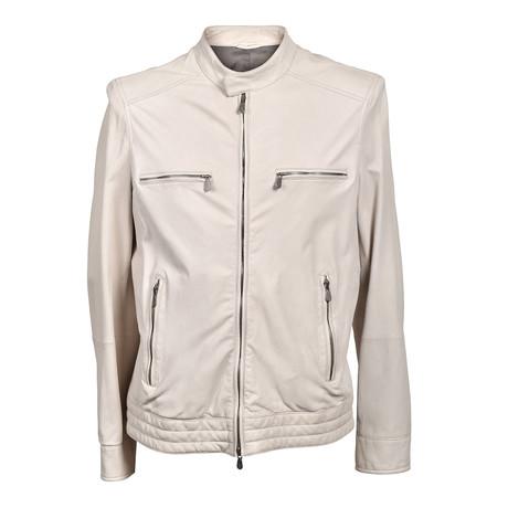 Leather Biker Jacket // Cream (XS)