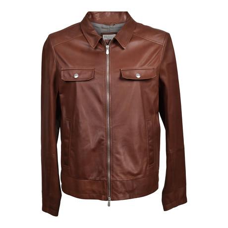 Leather Biker Jacket // Dark Brown (XS)