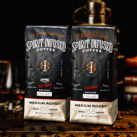 Infused Coffee Bundle of 2 // Tequila + Irish Whiskey (Ground)