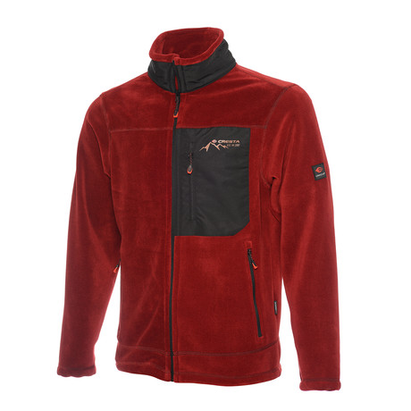 Full Zip Fleece Jacket // Claret Red (S)