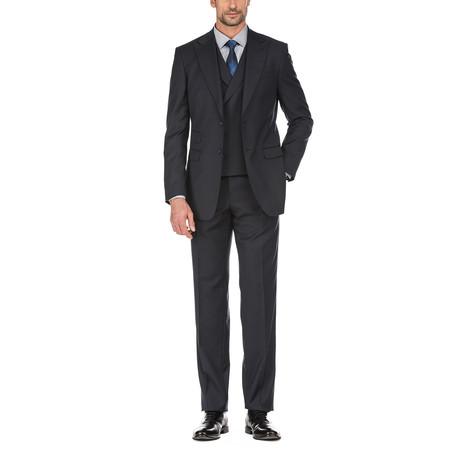 3-Piece Checkered Slim Fit Suit // Black (36S)