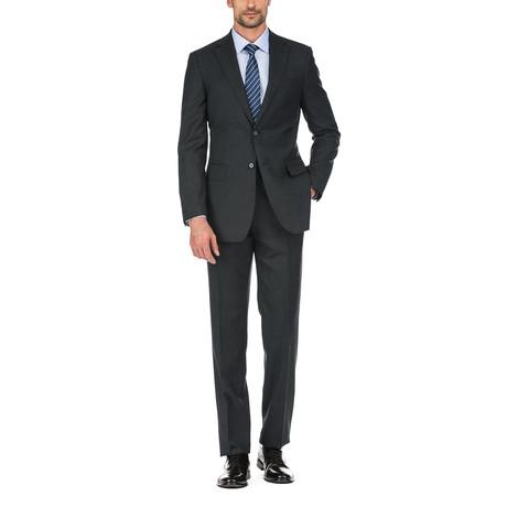 2-Piece Plaid Slim Suit // Black (36S)