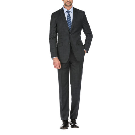 Plaid Windowpane Slim Fit Suit // Black (36R)