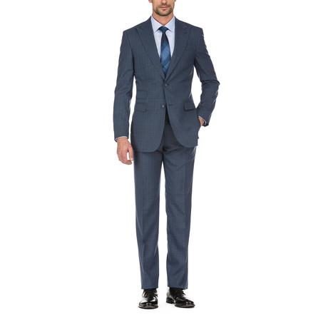 Windowpane Slim Fit Suit // Blue (36S)
