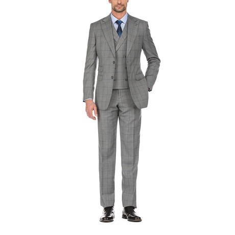 3-Piece Checkered Slim Fit Suit // Gray (36S)