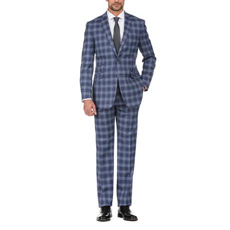 3-Piece Plaid Windowpane Slim Fit Suit // Navy (36S)