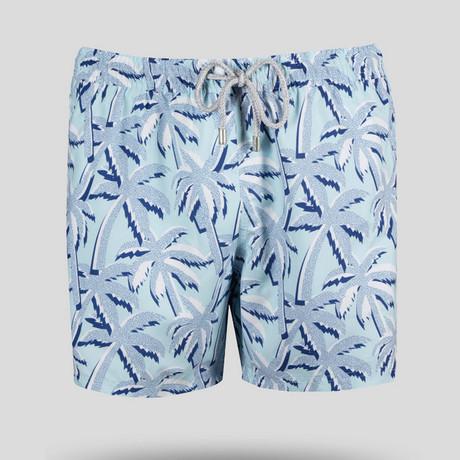 Palm Tree Swim Short // Light Blue (S)