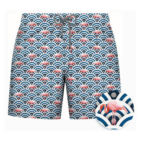 Flamingo Patterned Swim Short // Navy (S)