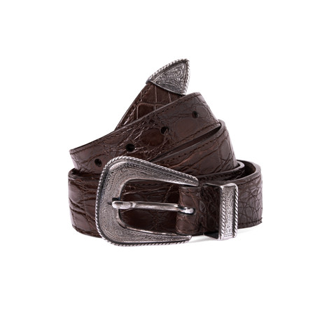 "Western Buckle Crocodile Belt // Brown (37"" Length)"