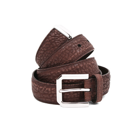 "Suede Belt + Silver Buckle // Burgundy (39"" Length)"