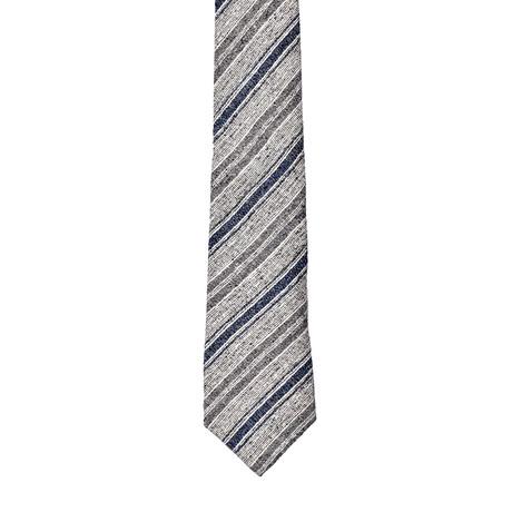 Two-Tone Stripe Silk Tie (Gray + Blue)