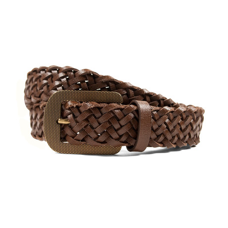 "Leather Braided Belt // Brown (35"" Length)"