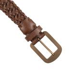 "Leather Braided Belt // Brown (35"" Length)"