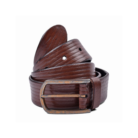 "Leather Belt + Flat Buckle // Brown (39"" Length)"