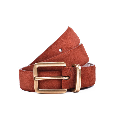 "Suede Belt + Gold Buckle // Burgundy (35"" Length)"
